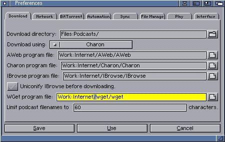 AmiPodder Documentation - Configuration